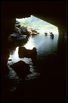 Interior and entrance of Phong Nha Cave with Rocks and boats. Vietnam