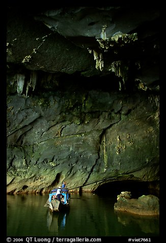 Boat and tunnel, Phong Nha Cave. Vietnam (color)