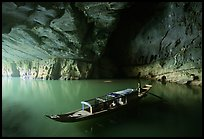 Boat inside the cave, Phong Nha Cave. Vietnam (color)