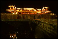 Ngo Mon (noon) Gate illuminated at night. Hue, Vietnam
