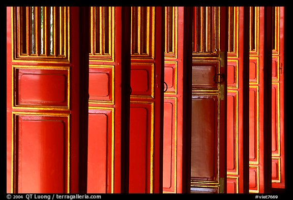 Red doors of the shrine inside the Minh Mang Mausoleum. Hue, Vietnam (color)