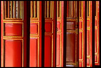 Red doors of the shrine inside the Minh Mang Mausoleum. Hue, Vietnam