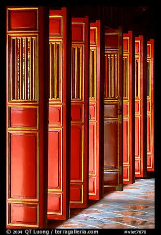 Red doors of the temple inside the Minh Mang Mausoleum. Hue, Vietnam (color)
