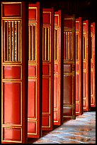 Red doors of the temple inside the Minh Mang Mausoleum. Hue, Vietnam