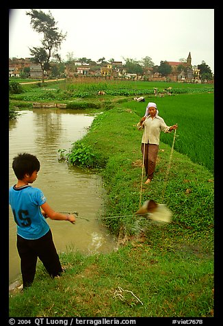 Field irrigation with a swinging bucket. Vietnam
