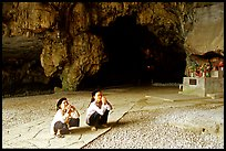 Elderly women praying in Nhi Thanh Cave. Lang Son, Northest Vietnam ( color)