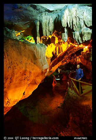 Tourist in Nhi Thanh Cave. Lang Son, Northest Vietnam (color)