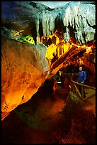 Visitor in Nhi Thanh Cave. Lang Son, Northest Vietnam (color)