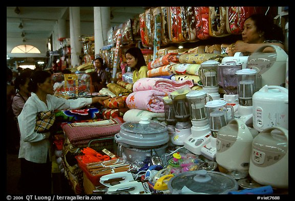 Dong Kinh Market, with its goods imported from nearby China. Lang Son, Northest Vietnam (color)