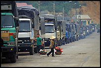Trucks waiting to cross the border into China at Dong Dang. Lang Son, Northest Vietnam ( color)