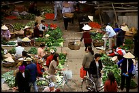 Vegetable section of the Ky Lua Market,  Cao Bang. Northeast Vietnam ( color)