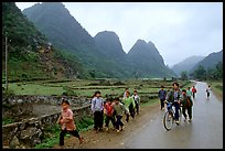 Children returning from school, Ma Phuoc Pass area. Northeast Vietnam (color)