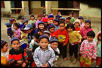 Schoolchildren dressed for the cool mountain weather. Northeast Vietnam