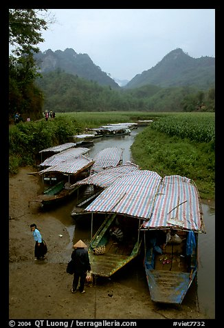 Boats waiting for villagers at a market. Northeast Vietnam