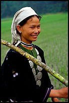 Hilltribeswoman with traditional necklace, Ba Be Lake. Vietnam ( color)