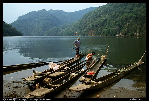Dugout boats on the shore of Ba Be Lake. Northeast Vietnam