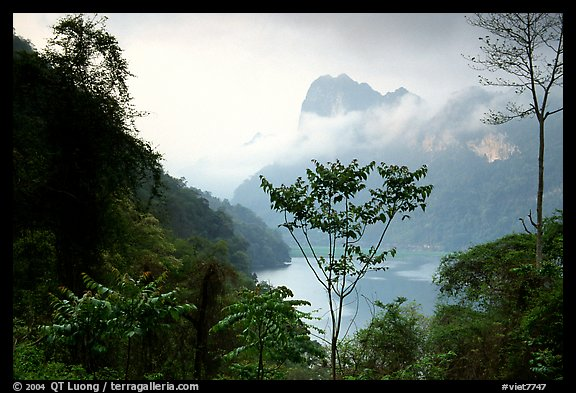 Ba Be Lake with morning mist. Northeast Vietnam