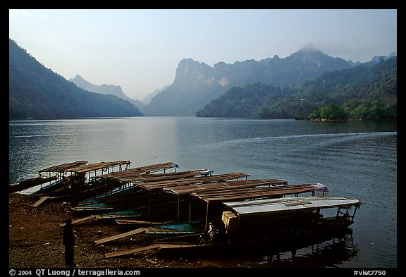 Boats on the shores of Ba Be Lake. Northeast Vietnam (color)