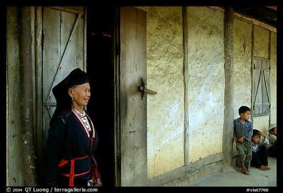 Elderly  tribewoman outside her house, near Mai Chau. Northwest Vietnam (color)