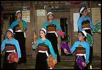 Thai women performing a dance, Ban Lac, Mai Chau. Northwest Vietnam