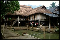 Stilt houses with thatched roofs of Ban Lac village. Northwest Vietnam (color)