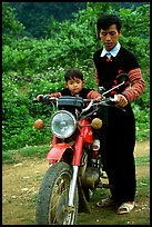 Hmong motorcyclist and boy, Xa Linh. Northwest Vietnam ( color)