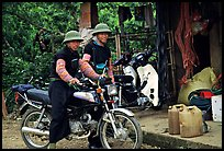 Two Hmong motorcyclists at the Xa Linh market. Northwest Vietnam ( color)
