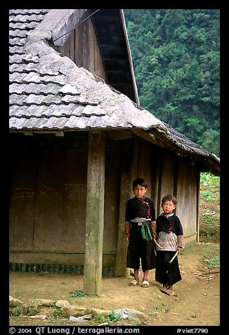 Two Hmong boys outside their house in Xa Linh village. Northwest Vietnam (color)