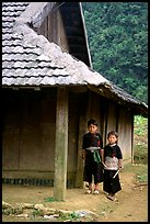 Two Hmong boys outside their house in Xa Linh village. Northwest Vietnam ( color)