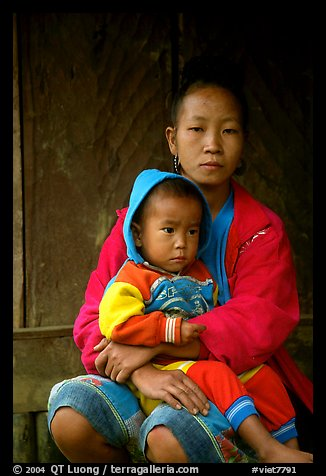Hmong woman and boy, Xa Linh village. Northwest Vietnam (color)