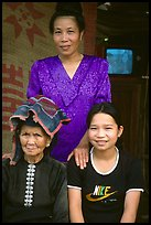 Three generations of thai women, near Son La. Northwest Vietnam