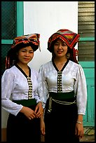 Two thai women in traditional dress, Son La. Northwest Vietnam