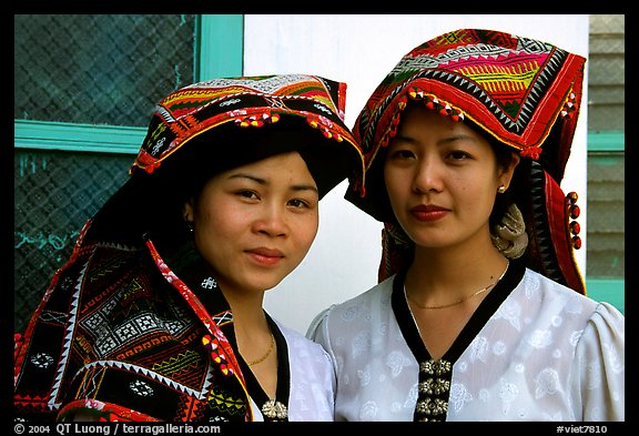 Two thai women in traditional dress, Son La. Vietnam (color)