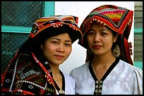Two thai women in traditional dress, Son La. Northwest Vietnam ( color)