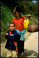 Ethnic minority woman and child, between Son La and Tuan Chau. Northwest Vietnam