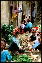 Thai women in the market, Tuan Chau. Northwest Vietnam ( color)