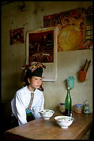 Thai woman in a restaurant, Tuan Chau. Northwest Vietnam