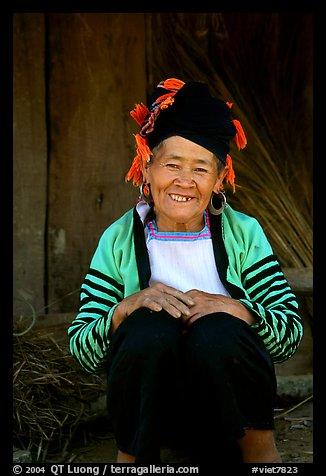 Elderly Dzao ethnic minority women, Tuan Chau. Vietnam (color)