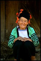 Elderly Dzao ethnic minority women, Tuan Chau. Vietnam (color)