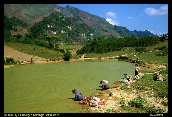 Thai women on the shores of a pond, near Tuan Giao. Northwest Vietnam (color)