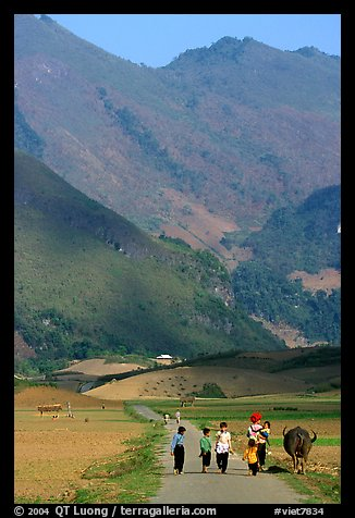 Villagers walking on the road, near Tuan Giao. Northwest Vietnam (color)