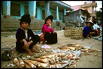 Thai women selling bamboo shoots, Tuan Giao. Northwest Vietnam (color)