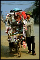 Street vendor uses his bicycle as a shop, Tam Duong. Northwest Vietnam ( color)