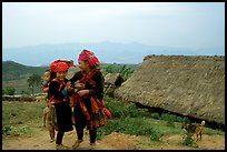 Hmong children and village, near Tam Duong. Northwest Vietnam (color)