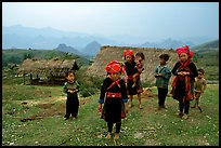 Hmong children and village, near Tam Duong. Northwest Vietnam