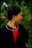 Woman of the Red Hmong ethnic group, with a helmet-like hairstyle, near Tam Duong. Northwest Vietnam