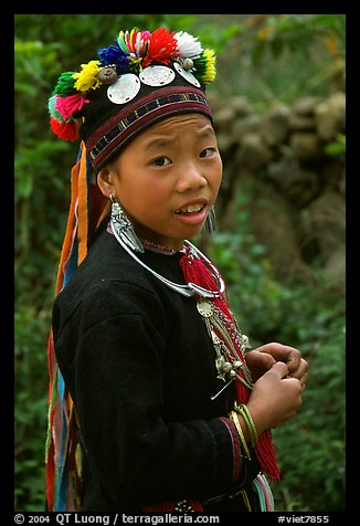 Boy of the Black Dzao minority wearing a hat with three decorative coins, between Tam Duong and Sapa. Vietnam (color)