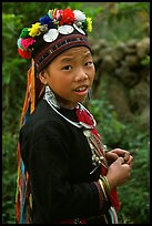 Boy of the Black Dzao minority wearing a hat with three decorative coins, between Tam Duong and Sapa. Vietnam ( color)