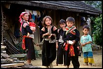 Hmong family in front of their home, near Tam Duong. Northwest Vietnam (color)
