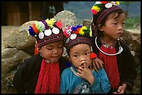 Black Dzao children wearing the hat with three coins, between Tam Duong and Sapa. Northwest Vietnam (color)